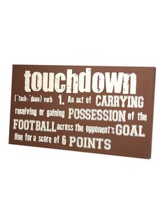 Take a look at this Brown 'Touchdown' Definition Wall Art by Twelve Timbers on #zulily today!
