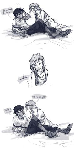 When Leo meets Calypso. Art by Viria. I like the actual way they met better though