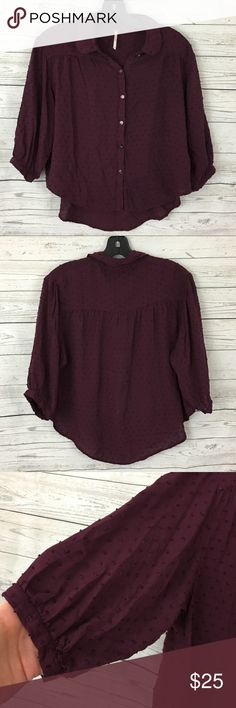"""Free People burgundy Swiss dot high low top Great condition. 22"""" armpit to armpit. 21"""" long in front, 24"""" long in back Free People Tops"""