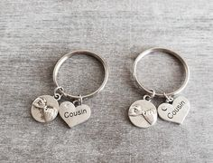 2 Cousin And Pinky Promise Pair Of Keychains Gift For Cousins Set Two Keychain Keyring Birthday Silver