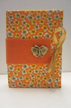 Bright Orange Floral Print with Vintage Wood Butterfly Button Accent Earring Organizer/Book for Travel or Storage 5x7x1 by TheElegantLady on Etsy