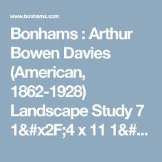 Bonhams : Arthur Bowen Davies (American, 1862-1928) Landscape Study 7 1/4 x 11 1/4in (18.4 x 28.6cm)