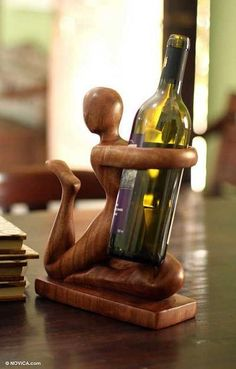 Shop unique, award-winning Artisan treasures by NOVICA, the Impact Marketplace. Wooden Wine Bottle Holder, Wine Glass Rack, Wine Bottle Holders, Wine Bottle Crafts, Hanging Wine Rack, Wine Stand, Wine Art, Buy Wood, Wine Storage