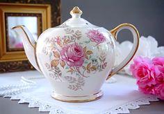 Sadler English Teapot with Pink Roses Cottage by TeacupsAndOldLace