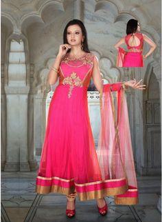 Dazzling Diva Pink Net #Salwar #Kameez #clothing #fashion #womenwear #womenapparel #ethnicwear