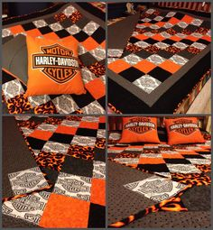 One of a kind Harley Davidson quilt made for Christmas! #HDNaughtyList
