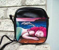 Small Sling Bag Purse Accessory Mermaid 12 Pink Hair Dolphin Art Painting Ldumas
