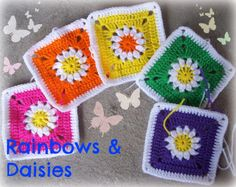 Rainbows and Daisies Square Pattern:   Baby Groovyghan CAL(1)