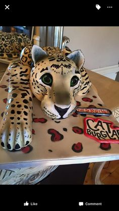 Jaguar cake for a book launch! Tamsin Cooke  #tamsincooke #catburglar #childrensbook #jaguarcake