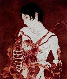Surrealistic Horror by Takato Yamamoto Ero Guro, Emo Art, Cosmic Art, Asian Paints, Samurai Art, Weird Art, Yamamoto, Artist Art, Manga Art