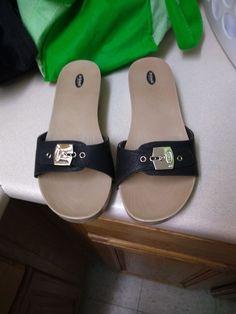 78f19aa6d164 Dr. Scholls plastic Slide Thong Sandals Black Size 9  fashion  clothing   shoes  accessories  womensshoes  sandals (ebay link)