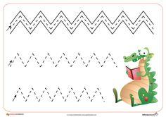 schrijfpatroon krokodil Dinosaurs Preschool, Numbers Preschool, Preschool Learning Activities, Preschool Worksheets, Early Math, Early Learning, Kids Learning, Writing Center Preschool, Prewriting Skills