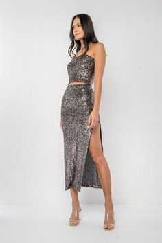 Get ready to party! The Baldwin is a mid-length, fitted skirt with a deep slit... Sequin Fabric, Fitted Skirt, Prom Dresses, Formal Dresses, Mid Length, Camisole, Ready To Wear, Sequins, Deep