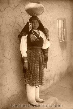 Gallery: Puebloans Isleta Pueblo woman, 1910  Tiwa woman at the Isleta Pueblo, New Mexico, Detroit Publishing Company, 1910. Vintage photo restored by Kathy Weiser-Alexander.