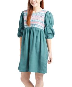 Another great find on #zulily! Pink & Teal Geometric Puff-Sleeve Dress - Women #zulilyfinds