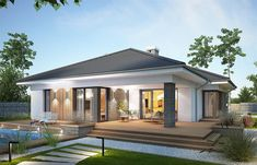 Projekt domu parterowego Miriam III o pow. Modern House Floor Plans, Modern Bungalow House, Bungalow House Plans, Modern Bungalow Exterior, House Plans Mansion, My House Plans, One Storey House, Village House Design, Beautiful House Plans