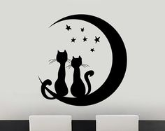 Cats Sitting On The Moon Decal – Cats – Wall Decals & Stickers – Cat Supplies Silhouette Chat, Silhouette Portrait, Wood Burning Patterns, Cat Quilt, Cat Wall, Cat Sitting, Cat Tattoo, String Art, Rock Art