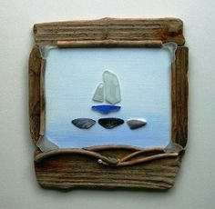 Driftwood sea glass and shell picture by JulieHoranArt on Etsy, £28.00