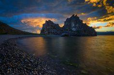 Shamanka Rock, Olkhon Island, lake Baikal, Siberia, Russia. Photo be Anton Franchuk.