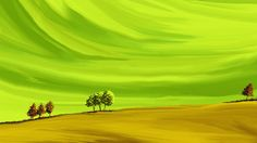 Swasti Verma Painting Digital Art. Landscape, Nature Art - Green Farm