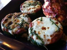 No-bread zucchini cheese pizzas with fresh basil | Coach Breanne - Take Shape for Life
