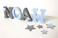 Wooden letters, Türbuchstaben, with stars-individual favourite shops Wooden Name Letters, Door Letters, Nursery Letters, Wooden Names, Letter Wall, Lego Letters, Painted Letters, Wood Playhouse, Ppg Paint