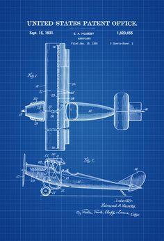 1931 Biplane Patent Print - Airplane Art Vintage Airplane Airplane Blueprint Pilot Gift Aircraft Decor Airplane Poster Biplane Patent by PatentsAsPrints
