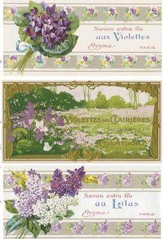 Vintage 11 Violet Lilac French Perfume Bottle Label Stickers Scrapbooking Crafts