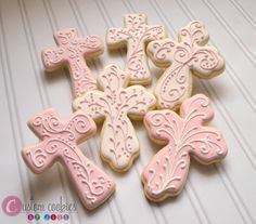 First Communion Cross cookies Cross Cookies, Fancy Cookies, Iced Cookies, Easter Cookies, Yummy Cookies, Cupcake Cookies, Sugar Cookies, Cookie Favors, Christening Cookies