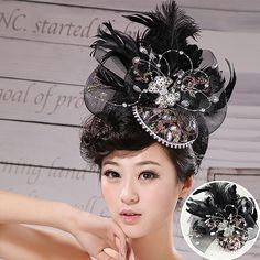 Feathers black wedding flower head $30.00