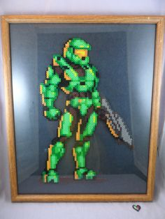 Huge Framed Halo Master Chief Perler sprite by ByteIt on Etsy