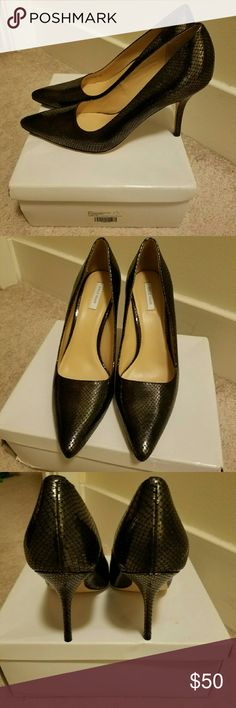 Snakeskin pumps NEVER WORN COLE HAAN PUMPS! I bought these at a sample sale. Excellent condition! Cole Haan Shoes Heels