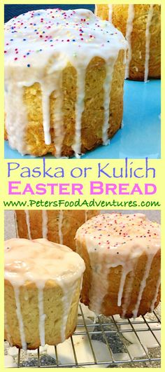 Easter Bread (Kulich) A Russian sweet bread made for Easter, similar to Italian Panettone. Easy recipe using bread maker dough setting. Traditionally made with raisins, but this recipe uses dried cranberries and blueberries - Kulich Easter Bread (Кулич) Easter Bread Recipe, Easter Recipes, Holiday Recipes, Birthday Recipes, Russian Dishes, Russian Recipes, Russian Desserts, Canadian Recipes, Russian Foods