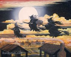 Folk Art HALLOWEEN Three Witches Flying PRINT All by sunbyrum, $10.99
