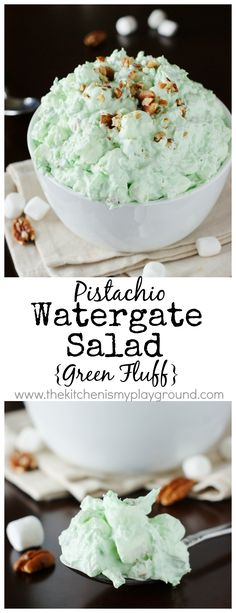 Classic Pistachio Watergate Salad ~ this green fluff salad is creamy comfort food at its best!   www.thekitchenismyplayground.com