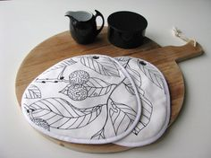 black and white kitchen pair of potholders