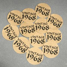 Birthday - Vintage Stickers - Round 1 Inch, Kraft Brown with Black Print or Your Colors, Set of 12 by CarasScrapNStampArt on Etsy 50th Birthday Cupcakes, 75th Birthday Parties, Moms 50th Birthday, 50th Birthday Party Decorations, 50th Party, Birthday Squad Shirts, How To Make Notes, Black Print, Card Making