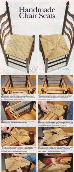 Handmade Splint and Rush Seat - Woodworking Tips and Techniques   WoodArchivist.com #WoodworkingTips