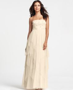 $1200 Ann Taylor - AT Wedding Dresses - Strapless Beaded Tulle Wedding Dress