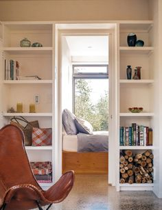 High-quality materials shine out in simple furnishings that have a penchant for the raw and natural in this Hawke's Bay Airbnb amidst an olive grove. Little Cottages, House Tours, Bookcase, Middle, Shelves, House Design, Small Houses, Space, Interior Ideas