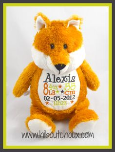 Personalized stuffed animal Teddy Bear, Toys, Baby, Animals, Custom Products, Day Care, Fox, Doggies, Sprouts