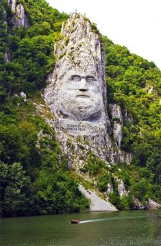 Statue of Dacian King Decebalos on River Danube (Romania).