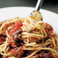 Spaghetti Puttanesca - America's Test Kitchen ~ you have to watch their video to get the recipe. This is supposed to take 10 min to make. Looks really good.