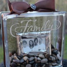 glass block family photo craft