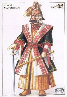 "Grand Prince Álmos of Hungary - Álmos, according to Gesta Hungarorum, was freely elected by the heads of the seven Hungarian tribes as their ""leader and master"". Hungary History, Grand Prince, Heart Of Europe, Early Middle Ages, Austro Hungarian, Dark Ages, My Heritage, Historical Pictures, Fashion History"