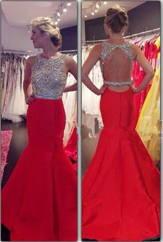 New Arrival Sexy Charming Prom Dresses,Mermaid Prom Dresses,Chiffon Prom Dresses,2016 Scoop Sleeveless Backless Sweep Train Prom Dress,Beading Crystal Prom Dress