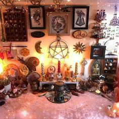 Here a little bit of Altar Inspiration.You can find Witchcraft altar and more on our website.Here a little bit of Altar Inspiration. Autel Wiccan, Wicca Altar, Wiccan Decor, Pagan Witch, Magick, Wiccan Home, Spiritual Decor, Witch Room, Casa Retro