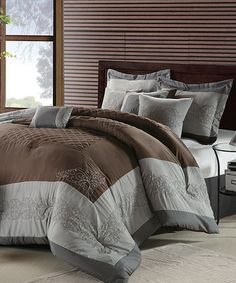 Take a look at this Silver & Brown Venetian Queen Comforter Set by Chic Home Design on #zulily today!