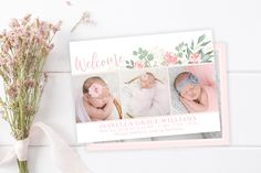 Welcome Baby Girl Floral Birth Announcement Template - Girl Baby Announcement - Newborn Template for Photoshop - Photographer Template Birth Announcement Template, Baby Girl Announcement, Birth Announcements, Purchase Card, Welcome Baby Girls, Photoshop For Photographers, Digital Backdrops, Watercolor Design, Floral