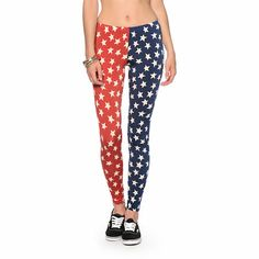 These slim fit and silky leggings will let your effortlessly show off your pride for the good ol' U-S of A with the Red, White and Blue star print throughout. Striped Leggings, Printed Leggings, America Pride, Star Print, Red And Blue, Tights, Pajama Pants, Stripes, Slim